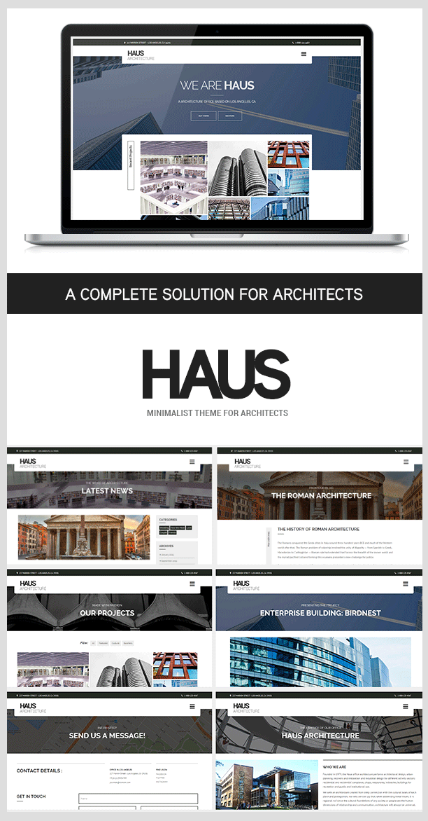 Haus architecture theme for architects wordpress for Architecture wordpress