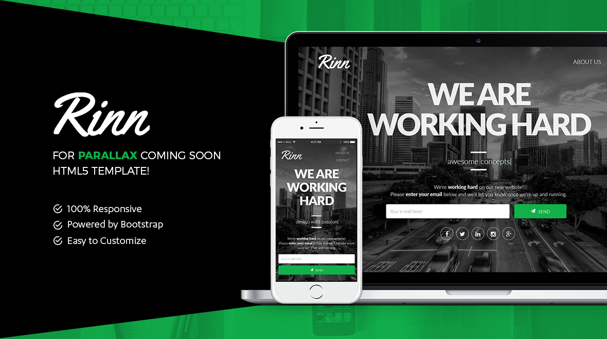 Rinn: Coming Soon | Bootstrap Template